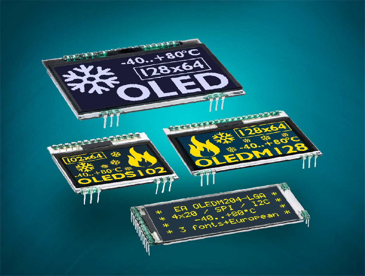 OLED graphic displays as display for text and graphics with SPI for 3.3V