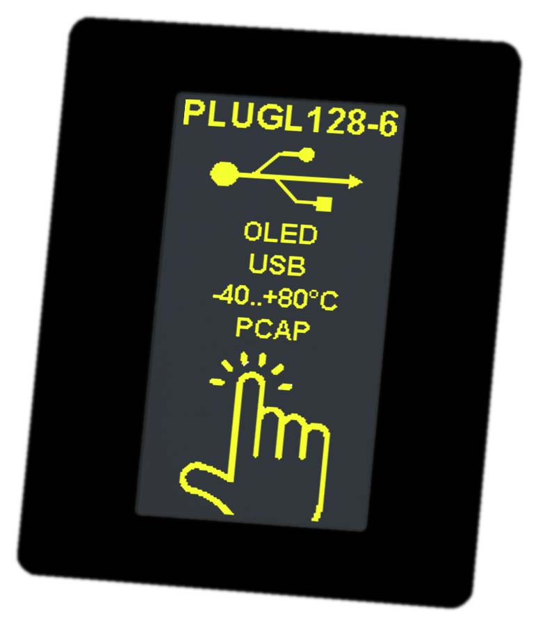 Interactive HMI display modules as OLED with USB, RS232, I²C and SPI. Including touch panel PCAP